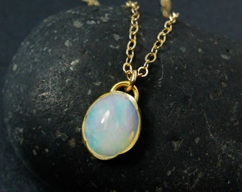 Oval Australian Opal Necklace, Milky Opal Necklace, Choose Your Setting