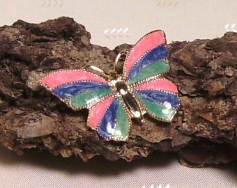 Colorful Fun Butterfly Pin in Gold Tone