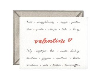 Valentine Pet Names letterpress card