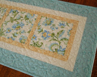 Blue and Yellow Quilted Floral Table Runner, Flower Table Runner, Dresser Runner, Coffee Table Runner, Dining Table Decor, Bedroom Decor