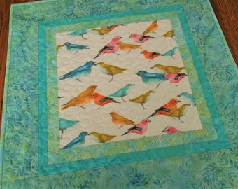 Colorful Bird Quilted Table Topper, Quilted Wall Hanging, Blue Pink Orange Yellow, Quilted Table Runner, Square Tablecloth, Bird Lover Gift