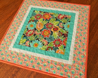Quilted Square Table Topper with Bright Flowers in Orange Red Turquoise, Flower Table Topper, Quilted Table Runner, Square Tablecloth