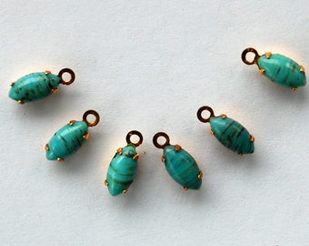 Vintage Turquoise Matrix Glass Navette Marquis 6 Pendant Beads • 8x4mm
