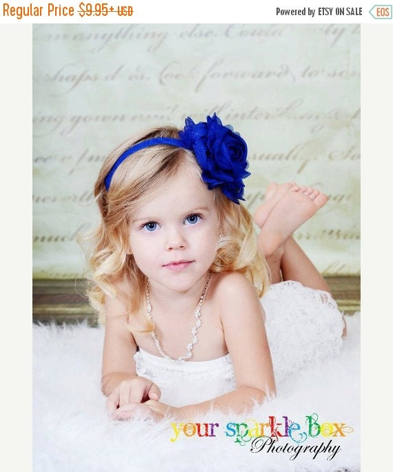 Royal / Light Navy Blue Flower Headband - Light Navy Blue Chiffon Rose Headband or Hair Clip - The Emma - Baby Toddler Child Girls Headband
