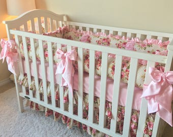 Rambling Roses Bedding Sets for Baby Girl, Pink Crib Set, Custom Baby Bedding, Luxury Baby Bedding, Shabby Roses Crib Bedding, Pink Crib Set
