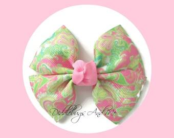 Lime And Pink Paisley Pinwheel Bow, Paisley Hair Bow, Hair Bow For Girls, Toddler Hair Bows, Pinwheel Bow, M2M Hair Bows, Pinwheel Hair Bows