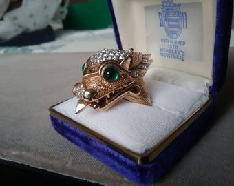 Crown Trifari  Dragon Diamante Jewelery Watch  Ring Costume Designer Signed  Free Shipping To The Usa and Canada