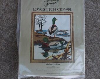 Vintage Long Stitch Crewel Kit Mallard Habitat Candamar Designs Ducks Woodland Lake Cabin Decor Winter Do It Yourself Crafting Supplies