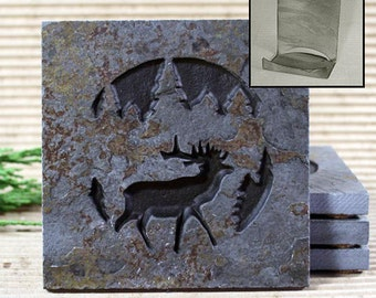 Etched Natural Stone Coaster Set with Holder - Elk in Pine trees on Copper Slate