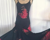 30% off SALE Beautiful Vintage Reproduction Black Rayon Hawaiian Dress with Red and Gold Koi Fish