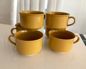 Vintage Mid Century Era Set of 6 Melmac Cups in Mustard Color -- Retro Home