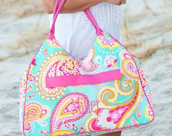 The Summer Paisley Beach Bag - PERSONALIZED - Hot Pink Paisley Tote Bag