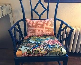 FREE SHIPPING 15x8 Orange and White Geometric Greek key Lumbar Pillow