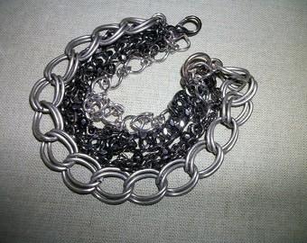"Multi Chain Mixed Metals Bracelet  6""  Industrial   SIlver Gunmetal Copper women's  Unisex"
