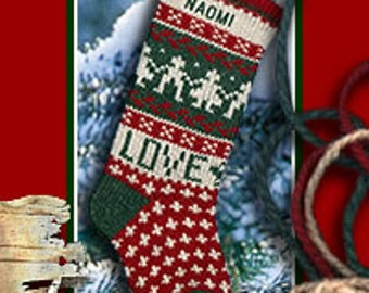 Scandinavian LOVE Theme Family Christmas Stockings Personalized