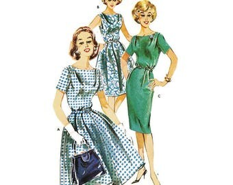 1960s Dress Pattern with Bateau Neckline and Slim or Full Skirt Butterick 9764 B36 Sz 16