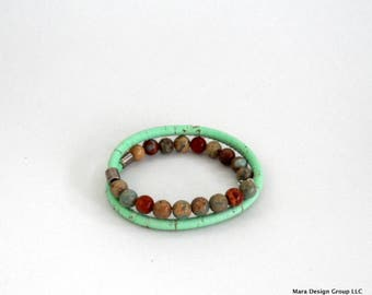 cork and natural stone wrap bracelet - adjustable, vegan