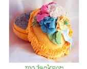 easter egg box personaized with hand made ribbon flowers / glittered / crepe paper / yellow