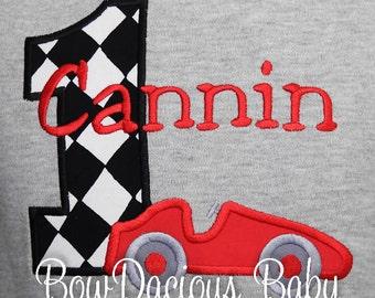 Race Car Birthday Shirt, Personalized Boy Birthday Shirt or Bodysuit, Racecar Birthday Party, Custom Birthday Shirt, Race Car Shirt Raglan