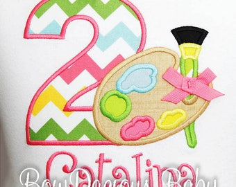 Paint Palette Birthday Shirt, Art Birthday Shirt, Art Birthday Bodysuit, Art Birthday Party, Girls Birthday Shirt, Number, Girls Second