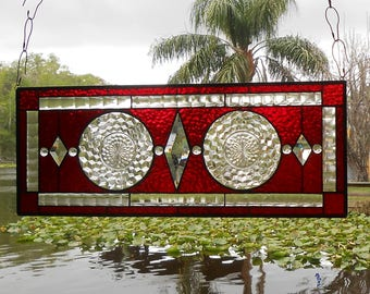 Stained Glass Panel, 1930s Jeannette Cubist Depression Glass Stained Glass Window, Antique Window Valance, Original Stained Glass Transom