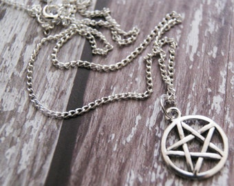 Silver Plated Pentagram Star Pendant Necklace, Silver Chain, Ladies Gift, Wicca Jewelry, Gift For Her, Teenager Necklace, Fun Witch Necklace