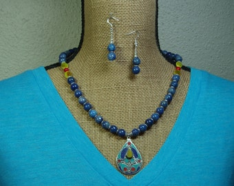 Natural Native American Indigo Lapis Lazuli, Red coral, Yellow Topaz Gemstones, 925 Silver Hand Overlay Necklace and Earrings