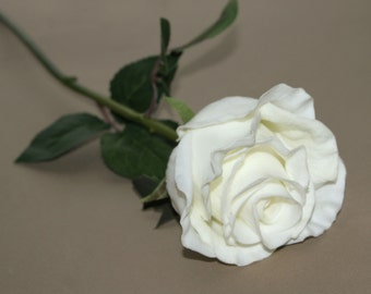 Long Stem Gorgeous Real Touch Creamy White Rose - Artificial Flowers, Silk Roses