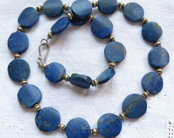 Gorgeous antique natural untreated lapis necklace with sterling silver, designer neckalce by Beadart-Austria