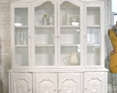 Painted Cottage Chic Shabby White Romantic French China Cabinet CC896