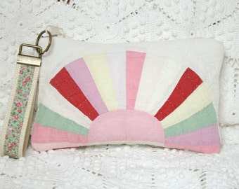 Sweet Little Pouch from Fan Design Vintage Quilt with Matching Key Fob Wristlet