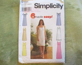 Simplicity 9191 Dress Pattern, Uncut, Sizes 4, 6, 8, 10