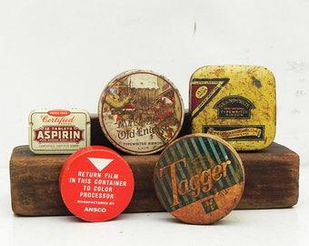 5 Vintage Tin Film Typewriter Ribbon Aspirin Boxes Repurpose Altered Art Assemblage Steampunk Craft Supply