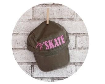 Women's Baseball Hat, Let's Skate Roller Derby Hat, Roller Skating Mens Adjustable Cap Military Style Cadet Hat Glitter Lettering Derby Wife