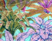 Philip Jacobs Miami, pastel, rare, OOP, vhtf large repeat tropical botanical fabric, Kaffe collective, by the half yard