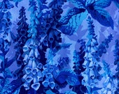 Philip Jacobs Foxgloves, blue, OOP, rare Kaffe Fassett collective floral, by the half yard