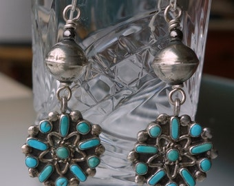 Zuni Vintage Turquoise Sterling Petit Point Earrings