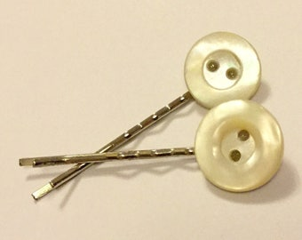 Vintage Mother of Pearl Shell Button Hair Slides Art Deco MOP Ivory Cream Wedding Bridesmaid Clips Grips Pins Combs Hairgrips Hairclips