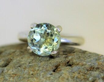 Prasiolite 9mm green amethyst claw set ring.