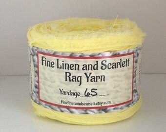 Rag yarn, Rug making, Fiber Arts supplies, Lemon Yellow