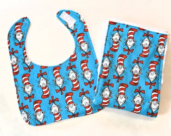 Dr Seuss Baby Bib Burp Cloths Gift Set, Infant Boy or Girl BurpCloths, Cloth Diaper Pad, Cat in the Hat, Made From Dr Seuss Fabric