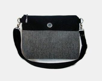 Black Tweed Medium Zippered Crossbody Bag - Black Messenger Purse - Upholstery Fabric Handbag - Outside Pockets - Zipper Closure Purse
