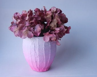 Color Block Bowl Style Vase / bright pink ombre vase