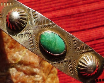 Harvey Era Southwest Stamped Sterling Silver Turquoise Cuff Bracelet