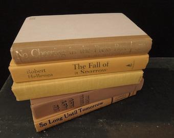 Books for Decor - Dark Maize Sand Tan Book Stack - Decorative Books - Instant Library - Bookshelf Decor Vintage
