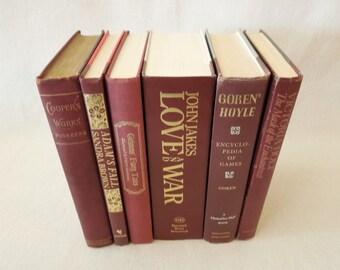 Wine Dark Berry Colored Books for Decor - Decorative Book Collection - HGTV Bookshelf Decor - Wedding Centerpiece