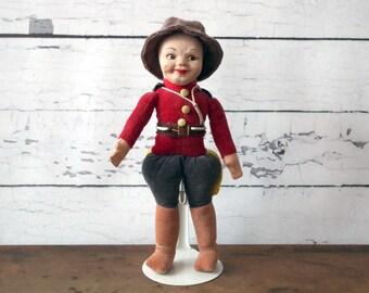 Vintage Felt Doll 1930s Norah Wellings Royal Canadian Mountie Police Souvenir