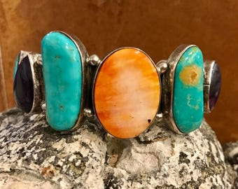 Beautiful Bold Chunky Blue Turquoise Purple Amethyst Orange Spinel Coral Sterling Silver Vintage Native American Cuff Bracelet Singed