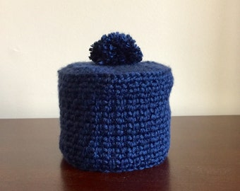 Toilet Tissue Cover, Toilet Paper Cover in Navy Blue, Hand Crocheted