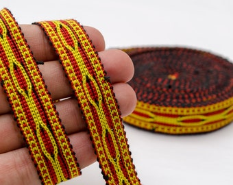 6 yards long hand woven cotton band, ribbon, lace, yellow red from Samarkand